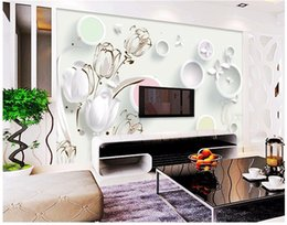 2019 круговой панно высокое качество пользовательские фото обои Mural Тюльпан 3D круг ТВ фон стены Гостиная Спальня диван papel де parede дешево круговой панно