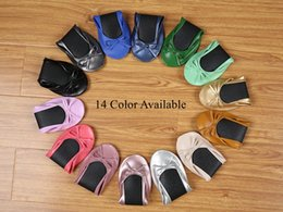 Wholesale Genuine Leather Rolls - After Party Shoes Foldable Ballet Flats Portable Travel Fold up Shoe Prom Ballerina Flats Roll Up for Bridal Wedding Party Shoes
