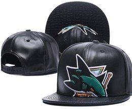 Wholesale Wholesale Shark Baseball Caps - New Caps Sharks Hockey Snapback Leather Hats Black Color Cap Football Baseball Team Hats Mix Match Order All Caps Top Quality Hat