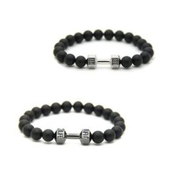 Pietra nera opaca online-Bracciale Chic Dumbbell Motivation Crossfit Fit Charm Stone Life Hot Nuovo Fitness Gym Fashion Black Matte