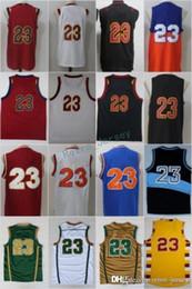 Wholesale High James - 23 LeBron James Basketball Jerseys Men High School Irish Throwback Blue White Green Brown Red Black