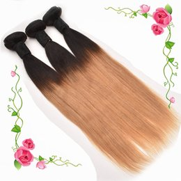 Ombre Brazilian Hair Weave 3 Bundles Straight Human Hair Weave Two Tone Color T1B 27 Honey Blonde Peruvian Malaysian Indian Hair weft Coupon
