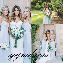 Wholesale Bridesmaid Dresses Pale Blue - Bridesmaid Dresses 2018 Pale Blue Chiffon Beach with Mix And Match Junior Honour Of Maid Dress Wedding Party Guest Gown Custom Made Cheap