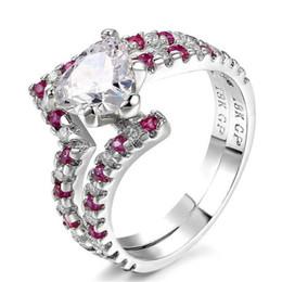 обручальные кольца с бриллиантами Скидка Сердце cut цирконий серебряный цвет мода ювелирные изделия кольцо наборы свадьба обручальное для женщин девушка Оптовая CZ бриллиантовые кольца DD019