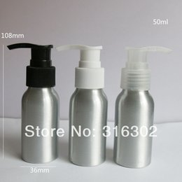 Wholesale Glass Bottle Press Pump - 12 x Cosmetic Packaging 50ml Aluminum Pump Lotion bottle, Metal Container with Press Pump, DIY Liquid Storage Tool