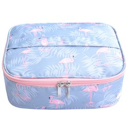 Wholesale Wholesale Cosmetic Bags Boxes - Flamingo waterproof Women Makeup bag Cosmetic bag Case Travel Make Up Toiletry Organizer Storage pouch set box professional