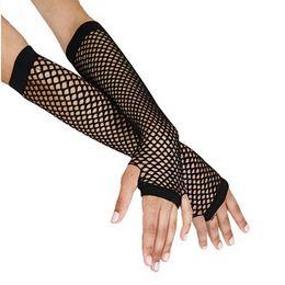 2019 нейлоновые спандексные перчатки Women Fingerless Gloves Stylish Long Black Fishnet Gloves Girls Dance Gothic Punk Rock Costume Fancy