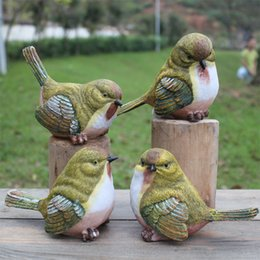 Wholesale Statue Home Decor - Garden Birds Playful Magpie Statue Outdoor Artificial Bird Resin Bird 4 Pieces A Set Garden Decor Home Decor Art