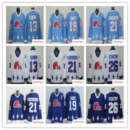 561f7a39ac3 men's Quebec Nordiques Jerseys 13 Mats Sundin 21 Peter Forsberg 26 Peter  Stastny 19 Joe Sakic hockey jerseys quebec hockey jersey on sale