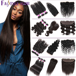 Wholesale 28 water wave hair extension - Brazilian Virgin Human Hair Bundles Closure Straight Deep Body Water Wave Kinky Curly Ear to Ear Lace Frontal with 3 Bundles Hair Extensions