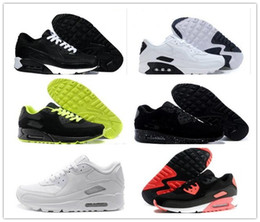 Wholesale air hard - Mens Sneakers Shoes classic 90 Men and women Running Shoes Black Red White Sports Trainer Air Cushion Surface Breathable Sports Shoes 36-45