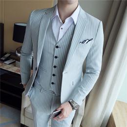 calças pinstripe Desconto Loldeal homens 3 PC Casual Elegante Terno Blazer Jacket Tux Vest Calças Homens Pinstripe Dress Suit