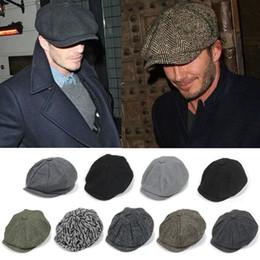 Wholesale Male Models Cap - David Beckham Fashion Gentleman Octagonal Cap Newsboy Beret Hat Autumn And Winter For Men's Male Models Flat Caps Driving