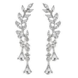 Wholesale Leaf Cuff Earrings - CZ Diamond Clip Cuff Earrings White   Gold Plated Flower Zirconia Crystal Leaf Stud Earrings Jewelry for Women Earring ZL