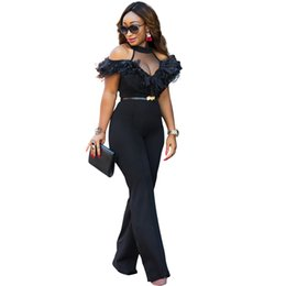 Wholesale women sheer legging - Sexy Women Cold Halter Off The Shoulder Wide Leg Jumpsuit Sheer Mesh Ruffle Clubwear Romper Overall Black Full length Jumpsuits