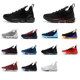 24087585818 Cheap new What the lebron 16 basketball shoes men Thru 1 MVP Triple Black  Red Blue Fresh Bred Promise youth kids sneakers tennis with box