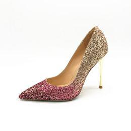 Runde zehe glitzer pumpen online-Real photo Mode Frauen Pumpt sexy lady Gold Pink Glitter Leder runde Spitze Schuhe Pumps Stiletto Heels Stiefel Braut Hochzeit Schuhe