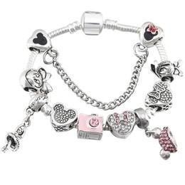 Bijoux glamour en Ligne-Style européen bande dessinée Glamour Bracelet de perles pour Pandora Style Cristal Flocon De Neige Pendentif Lady Bracelet Bijoux