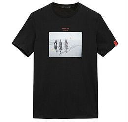Wholesale Offset Size - PEACEBIRD 2018 summer new chest personalized pattern offset casual fashion short-sleeved T-shirt Black Size S-2XL #3