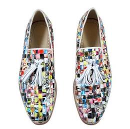 Wholesale casual tassel loafers men - 2018 Men Graffiti Newspaper Flats Slip-on Anti-skid Men Tassel Oxfords Street Style Men Knitting Plaid Shoes Casual Loafers