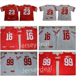 Wholesale Russell Football Jersey - Men's Wisconsin Badgers College Football #23 Jonathan Taylor #16 Russell Wilson #99 J.J. Watt Red White Jersey S-3XL