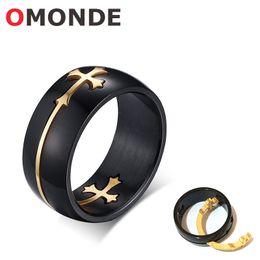 Wholesale blessing cross - OMONDE Black Color Stainless Steel Rings Separable Gold Color Jesus Cross Christian God Bless Lucky Holy Finger Faith Jewelry for Men Women