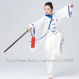 Chinês Tai chi vestuário Kungfu taijiquan uniforme roupa Qigong traje nuvem bordado para mulheres homens menino menina crianças adultos crianças de