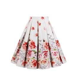 flor midi saias Desconto Meninas Mulheres Floral Print Skirt Partido vestido de Baile Plissado Skater Midi Saia Projetado Cintura Alta Flor Impresso Saias Do Vintage Quente