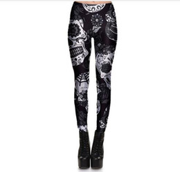 Wholesale trousers black flowers - Hot Sell Skull Leggings Women's Skull&flower Black Leggings Digital Print Trousers 7 color skull Woman Stretch Pants Plus Size