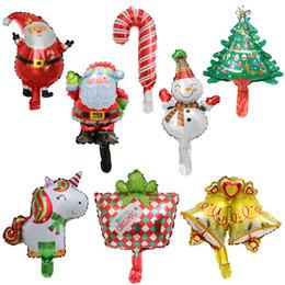Alberi di natale decorati santa online-Mini Christmas Unicorn Santa Balloon Cane Pupazzo di neve Piccola campana Albero Palloncini in alluminio Celebrare la festa Decorare 0 47 lm hh