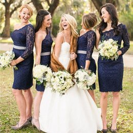 Wholesale Modest Prom Dresses Champagne Color - Modest Cheap Short Bridesmaid Dresses 2018 Country Style Navy Blue One Shoulder Zipper Lace Dresses Sheath Prom Party Gowns