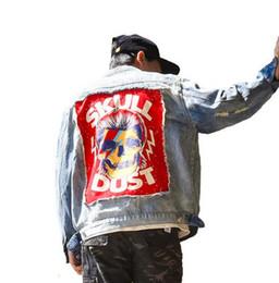 Patch crâne vintage en Ligne-Street Casual Hommes Outwear Rock Skull Denim veste Vintage Hole Patch Designs Loisirs Cowboy Manteau Vêtements de Survêtement