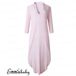 69b98ebe4 vestido de linho rosa mulheres Desconto Mulheres soltas manga longa dress  com decote em v de