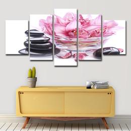 manifesti fiore rosa Sconti Canvas Poster Home Decor 5 pezzi Pink Lily Petals Stone Paintings Wall Art HD Prints Immagini di fiori per soggiorno