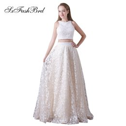 girls lace tops collar NZ - Elegant Girls Dress O Neck With Crystals Crop Top Long Lace Party Formal Evening Dresses for Women Two Pieces Prom Dress Gown