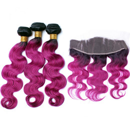Wholesale Two Color Frontal Closure - Two Tone 1B Pink Ombre Hair Bundles with Lace Frontal Closure Hot Pink Dark Roots Ombre Body Wave Hair Weaves with Frontal