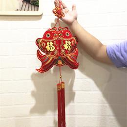 decorazioni cinesi porta nuova anno Sconti 1PC tradizionale nodo cinese grande Lucky Fishes Decor Capodanno Party Party Door Festival Hanging Drop Decorazione ghirlande