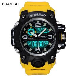 2019 желтые спортивные часы привели BOAMIGO Марка Мужские Спортивные Часы LED Цифровые Аналоговые Наручные Часы Плавать Водонепроницаемый Желтые Резиновые Подарочные Часы Relogios Masculino дешево желтые спортивные часы привели