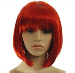 Горячая продажа мода короткие красные прямые челка Боб женские женские волосы парик парики + крышка cheap straight red bang wig от Поставщики прямой красный парик парик