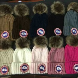 Wholesale Hat Knitting Fur Yarn - Winter Hat for Women Men Pompom Cap pom pom Beanie womens mens Warm Knitted Fur beanies Boy Girl Bobble hats ladies Adult caps wholesale