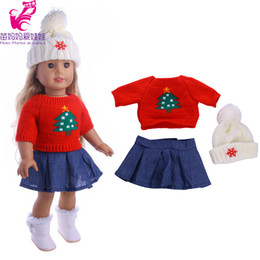 Wholesale Birthday Sweater - 3 in 1 Red sweater+ cap+ jeans dress for zapf Baby Born Clothes Wear fit 18 inch american girl doll Children best Birthday Gift