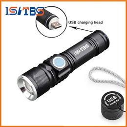 2019 flashlights de poche zoomables USB Handy LED Torch USB Flash Light Poche LED Rechargeable Lampe de Poche Zoomable Lampe Build-in 16340 Batterie Pour La Chasse Camping flashlights de poche zoomables pas cher