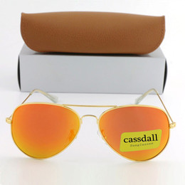 58mm uv en venta-10pcs Cassdal lClassic Sunglasses Flash Espejo Lentes Gafas de sol Diseñador de la marca Metal Frame 58mm Protección UV Sun Glass con Brown Box