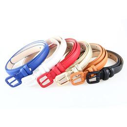 Wholesale Women Thin Leather Belt - High Quality Genuine Leather Female Slim Belt Fashion Women Skinny Leather Waist Strap Blue Red Brown Black Thin Belt
