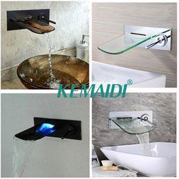 Wholesale Bathtub Led - KEMAIDI Bathroom Bathtub LED Wall Mounted Black Chrome Brushed Nickel Brass Mixer Waterfall Faucet Basin Sink Tap