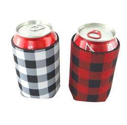 neoprene can Coupons - Red Buffalo Check Cooler Bag Wholesale Blanks Neoprene Black Red Plaid Can Covers Wedding Gift Tin Wraps free shipping SN2527