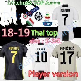 69c9047a9 Player Version 2018 2019 Juventus player Soccer Jersey RONALDO DYBALA 18 19  Soccer Shirt MARCHISIO MANDZUKIC PJANIC HIGUAIN football uniform