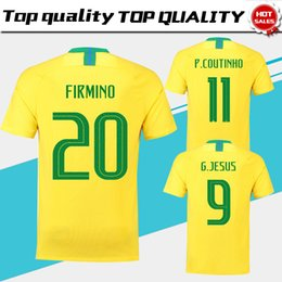 Wholesale jersey 11 - 2018 world cup home Soccer Jersey #7 D.COSTA soccer shirt #11 COUTINHO #9 G.JESUS home yellow Football uniforms sales