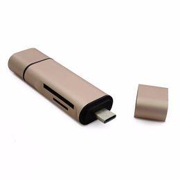 Unidad flash usb sd micro online-Escritor de lector de tarjetas de memoria multi 3/1 / Adaptador de unidades flash Micro USB tipo-C / Lector de tarjetas SD TF