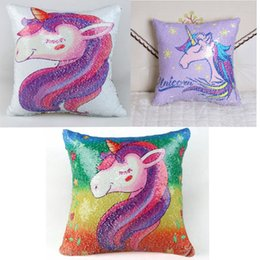 Wholesale pillowcase kids - Sequin unicorn pillowcase new spangle mermaid pillow cushion cover kids room sofa car decoration double color DDA698